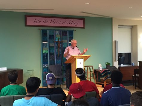 Brother Brian speaking to a group of seniors on their XLI Retreat, where they learn how to be Big Falcons.