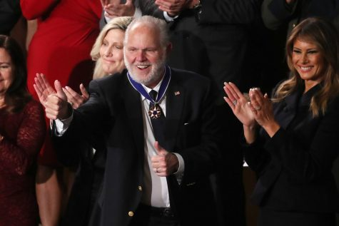 Conservative commentator Rush Limbaugh gives a thumbs-up after being presented the Presidential Medal of Freedom by First Lady Melania Trump