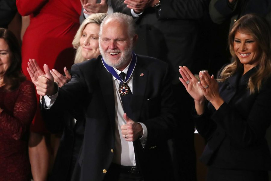 Conservative+commentator+Rush+Limbaugh+gives+a+thumbs-up+after+being+presented+the+Presidential+Medal+of+Freedom+by+First+Lady+Melania+Trump